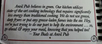 Anvil Pub's green kitchen description