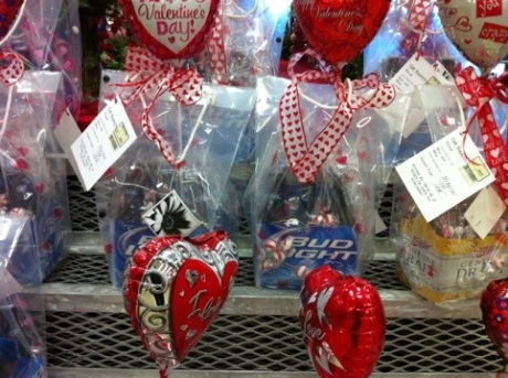 Beer and heart-shaped baloons