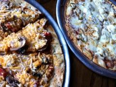 Anvil Pub's Veggie-normous and Texas Sage pizzas