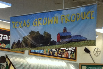 Sprouts Texas Grown produce sign