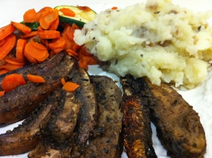 Engine 2 Marinate Mushrooms with Mashed Potatoes and Seasonal Vegetables