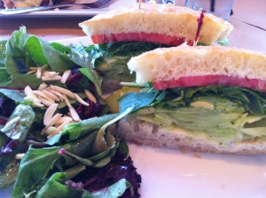 Bolsa Cucumber Avocado Sandwich and Baby Greens Salad with Cranberries and Almonds