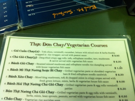 Nam Hua's Vegetarian Menu