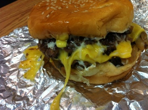Five Guys cheeseburger with grilled onions and mushrooms