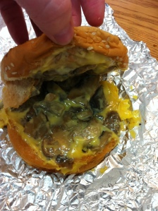 Five Guys grilled cheese with mushrooms