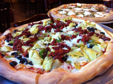 Sal's Veggie Pizza with added Sun Dried Tomatoes and Artichoke Hearts